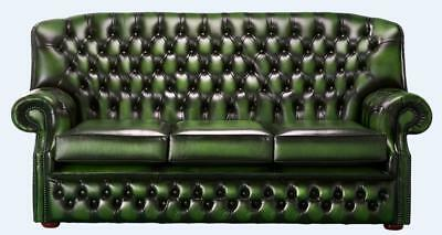 Chesterfield Monks 3 Seater High Back Sofa Antique Green Leather