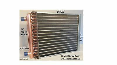 "Water to Air Heat Exchanger 16x20~~1"" Copper Ports w/ EZ Install Front Flange"