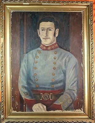 Antique Oil on Canvas Large Painting of US USA Civil War Officer Signed Framed
