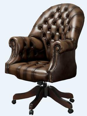 Chesterfield Vintage Directors Swivel Office Chair Antique Brown Leather