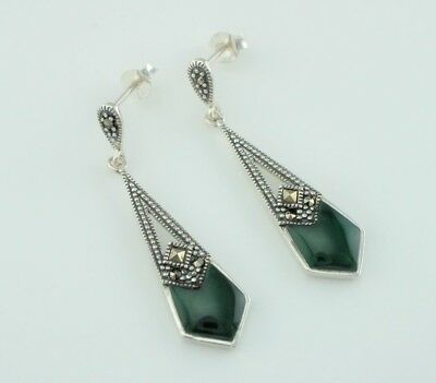 Art Deco Style 925 Sterling Silver Green Agate & Marcasite Dangle Stud Earrings