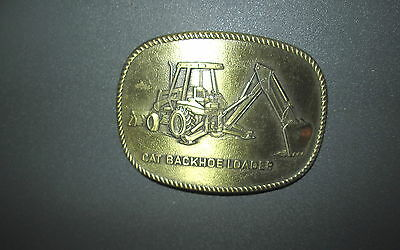 Vintage 1985 CAT BACKHOE LOADER CATERPILLAR Brass Belt Buckle Excellent Conditio
