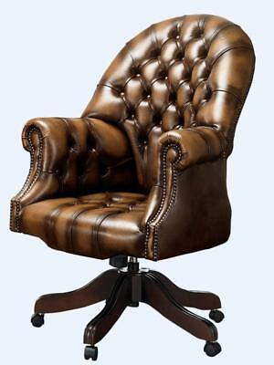 Chesterfield New Vintage Directors Swivel Office Chair Antique Tan Leather