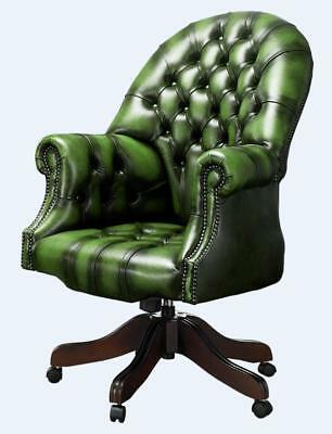 Chesterfield Vintage Directors Swivel Office Chair Antique Green Leather