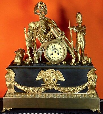 Large Antique Old 1860-90's French France Bronze Military Motif Mantel Clock