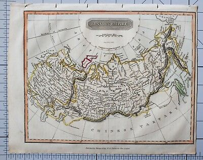 1822 ANTIQUE MAP RUSSIA RUSSIAN EMPIRE with HAND COLOUR