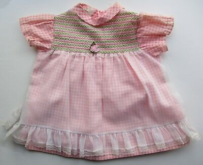 vintage baby dress pink gingham flower age 1 70's kids Easter party