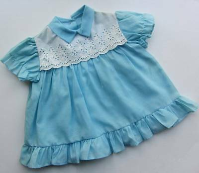 vintage baby dress blue white deadstock age 1 60's new