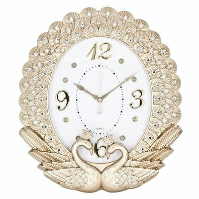 Wall clock with Swans Design in Gold