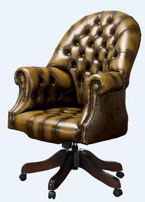 Chesterfield Vintage Directors Swivel Office Chair Antique Gold Leather