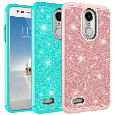 For LG Aristo / K8 2017 Case Glitter Bling Hard Silicone Hybrid Protective Cover