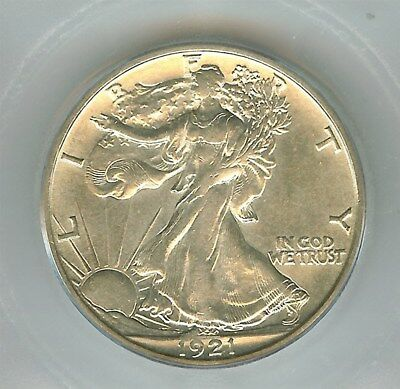 1921-S Walking Liberty Silver 50 Cents  Icg Au53 Rare! Key Date!