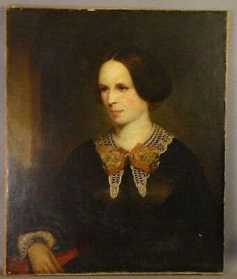 Ca. 1820 Antique 19thC Pre VICTORIAN LADY Old NY ESTATE Oil PORTRAIT PAINTING