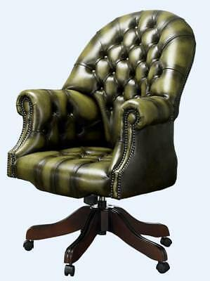 Chesterfield Vintage Directors Swivel Office Chair Antique Olive Green Leather