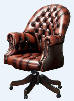 Chesterfield Vintage Directors Swivel Office Chair Antique Light Rust Leather