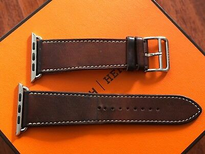 Hermes Apple Watch Band 42mm Brown/Tan Fauve Barenia Leather Band Strap Hermès