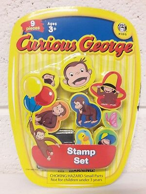 Curious George Stamp Set 8 Stamps 1 Ink Pad 9 Pieces SET Ages 3+ NEW SEALED