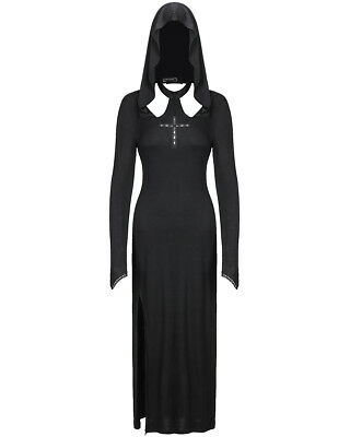 Dark In Love Gothic Hooded Maxi Dress Long Black Witch Occult Cross Long Sleeve