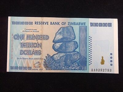 100 Trillion Zimbabwe Dollars Uncirculated Au-Bu Note No Reserve #505