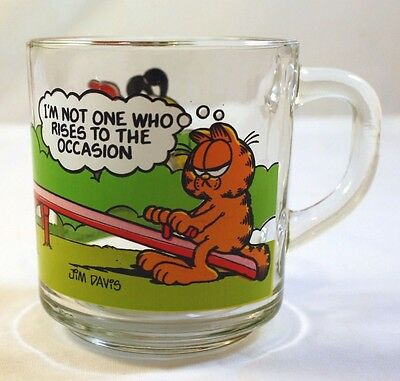 Vintage 1980's McDonald's Garfield Cat Glass Mug Cup Anchor Hocking Cartoon