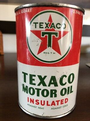 FULL NOS Metal 1940's TEXACO Insulated MOTOR OIL CAN Sign