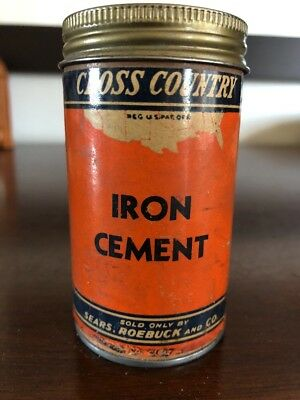 FULL NOS Metal 1940's SEARS ROEBUCK Cross Country Iron Cement OIL CAN Sign