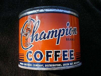 Champion Coffee Tin Can Key Wind Joannes Brothers Geen Bay Wisconsin Rooster