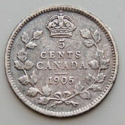 1905 5/5 Variety Canada Canadian 5 Cent Silver Coin King Edward VII