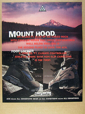 1994 Nike Air Makalu & Mada Low boots shoes Mount Hood photo vintage print Ad