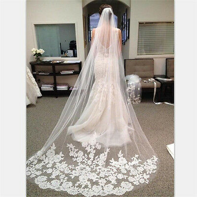 Appliques Tulle Long Cathedral Wedding Veils Lace Edge Bridal with Comb ME