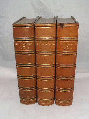 Antique Bibliographica Papers On Books Complete Bound Leather Set London Pollard