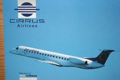 AK Airliner Postcard CIRRUS AIRLINES ERJ-145 airline issue