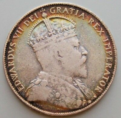 1909 Newfoundland Canada Canadian 50 Cent  Silver Coin - King Edward VII