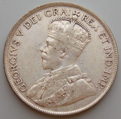 1919 Newfoundland Canada Canadian 50 Cent  Silver Coin - King George V