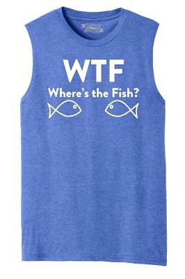 88559053 MENS WTF WHERE'S The Fish? Funny Fishing Shirt Muscle Tank - $8.99 ...