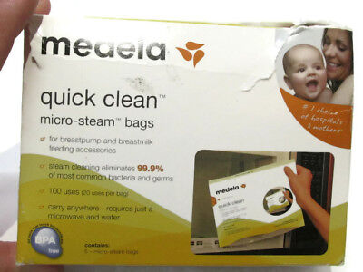 Medela 5 Quick Clean Micro-Steam Bags: Breastpump Acc Bottles Pacifiers Reusable