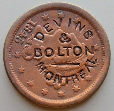 DEVINS & BOLTON MONTREAL COUNTERSTAMP 1845 LARGE US Penny CENT Coin Token