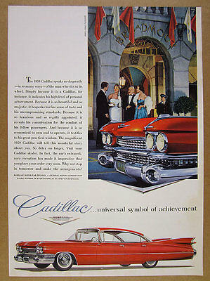 1959 Cadillac Sedan DeVille red car at Broadmoor Hotel photo vintage print Ad