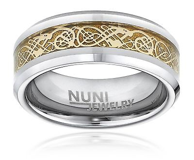 Tungsten Ring By Nuni Jewelry: Elegant Wedding Band With Gold Celtic Dragon I...