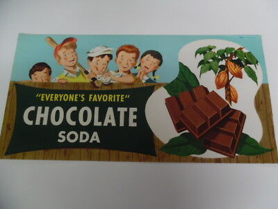 1950s Drive-In Restaurant Ice Cream Chocolate Soda Paper Sign Vintage Atomic Age