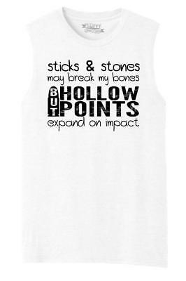 f385bfb6 Mens Sticks & Stones Break Bones Hollow Points Expand Funny Gun Tee Muscle  Tank