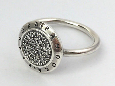 9cbce64a82077 AUTHENTIC PANDORA SIGNATURE Pave/Silver LOGO Ring 190912CZ Pick Sz ...
