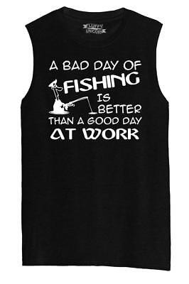 7d308fcc Mens Bad Day Fishing Better Than Good Day Work Funny Fishing Tee Muscle Tank