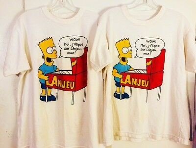 (2) VTG Bart Simpson Bootleg Tees French Canadian The Simpsons Rare Vintage 80's