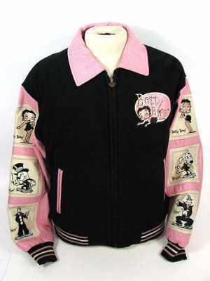 Excelled Betty Boop Black/pink Leather Wool Letterman Varsity Jacket Large