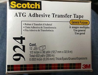 """Scoitch ATG Adhesive transfer Tape   1/2""""  x 36 yds x 48 rolls, 4 boxes"""