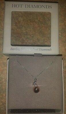 Hot Diamonds Sterling Silver Necklace with Pear Pendant with a real diamond BNIB