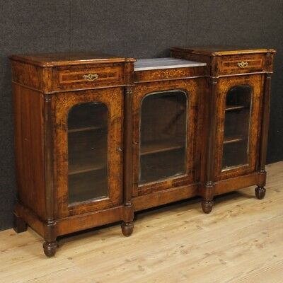 Sideboard English furniture buffet inlaid wood 3 doors marble antique style