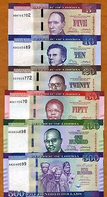 SET, Complete, Liberia 5;10;20;50;100;500 dollars 2017, P-New, Redesigned UNC