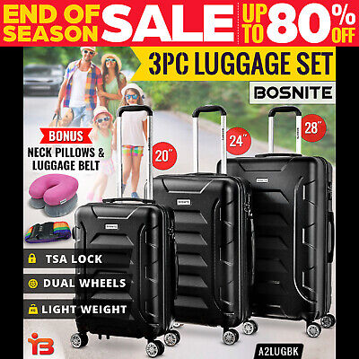 3pc Luggage Suitcase Trolley Set TSA Travel Carry On Bag Hard Case Lightweight B